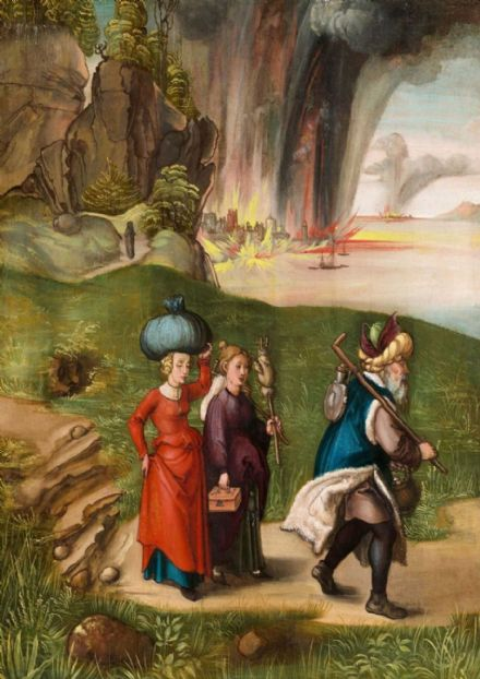 Durer, Albrecht: Lot Fleeing With His Daughters from Sodom. Fine Art Print/Poster. Sizes: A4/A3/A2/A1 (001913)